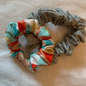 Accessories - gray lines and rainbow triangle Scrunchies